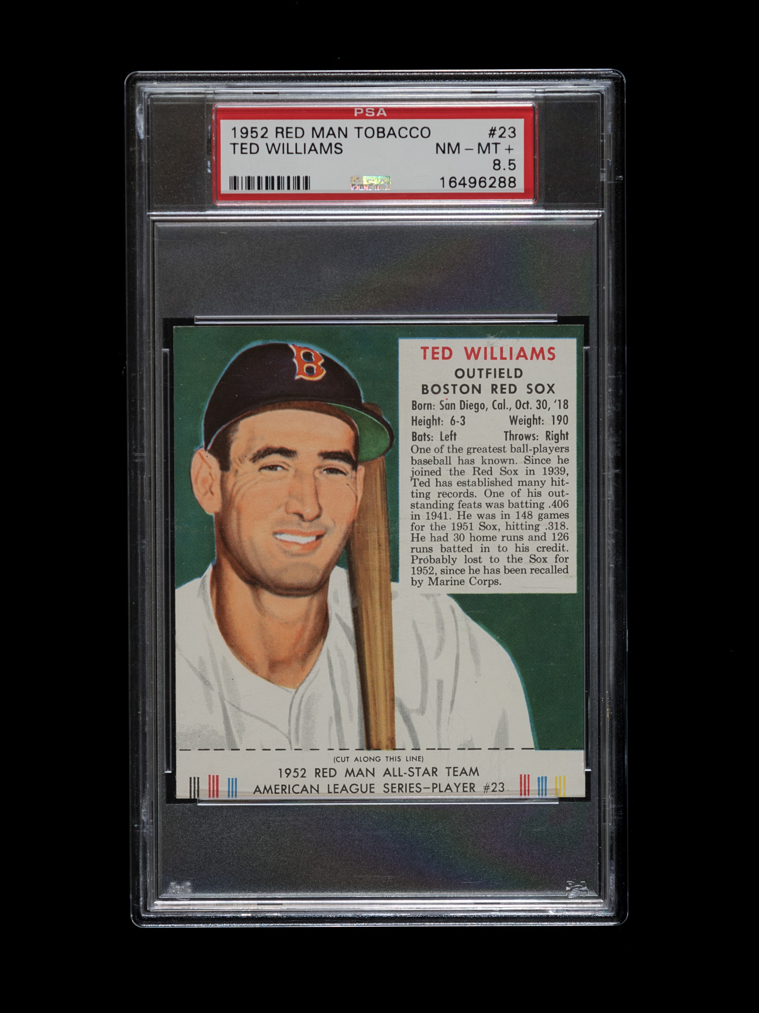 Red Man Ted Williams 1952 PSA 8.5